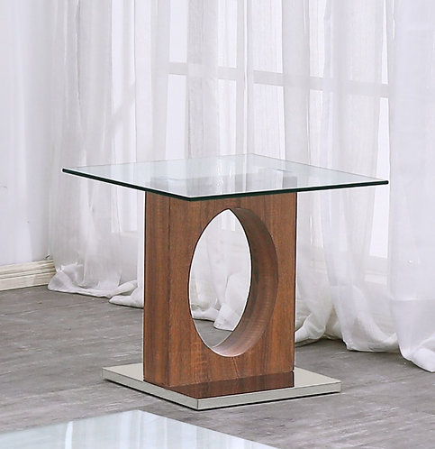 """""""DANILLE"""" SQUARE END TABLE IN GLASS TOP AND WOOD FINISH"""