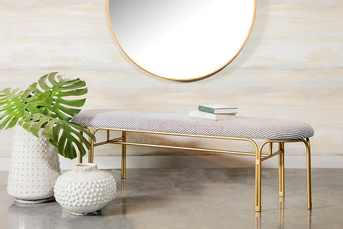 """""""AASHI"""" UPHOLSTERED BENCH IN GREY AND GOLD"""