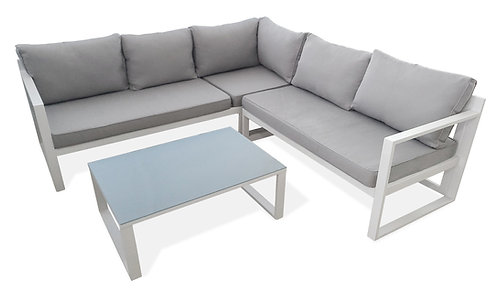 """""""VICENTE"""" 4-PCS PATIO SECTIONAL SET IN GREY AND WHITE"""