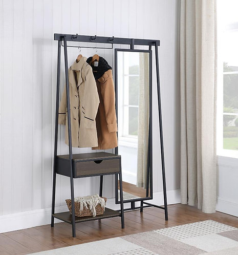 """""""RENO"""" COAT RACK WITH MIRROR IN DARK CHOCOLATE AND BLACK"""