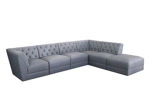 """""""Tracy"""" 6-pcs Modular Sectional Captioned In Linen Grey Fabric"""