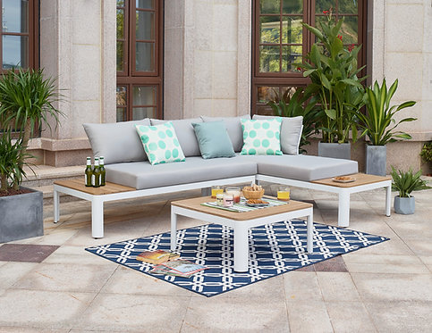 """""""MELODY"""" 3-PCS OUTDOOR SECTIONAL IN GREY AND WHITE FINISH"""