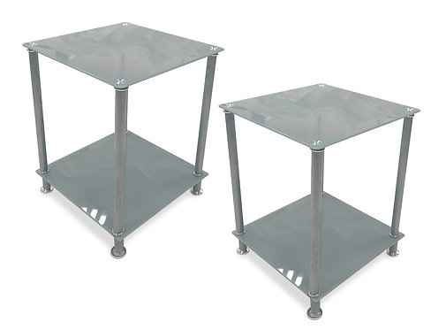 """""""DENVER"""" SQUARE END TABLE IN GLASS AND GREY (2PACK)"""