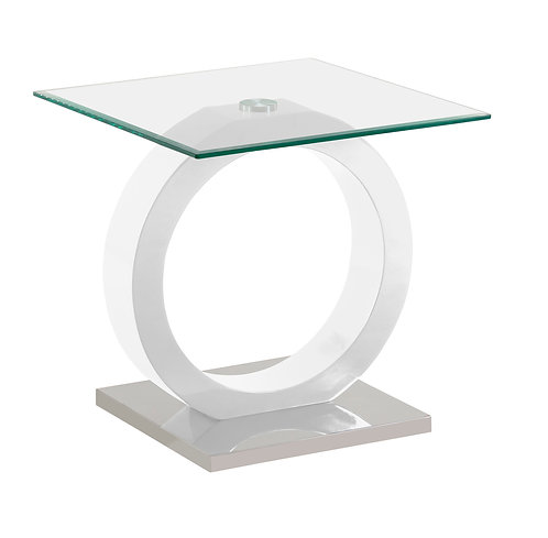 """""""VERITY"""" END TABLE WITH GLASS TOP AND WHITE FINISH"""