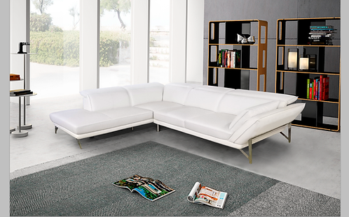 """""""DORRIS"""" 2-PCS SECTIONAL IN PURE WHITE LEATHER"""