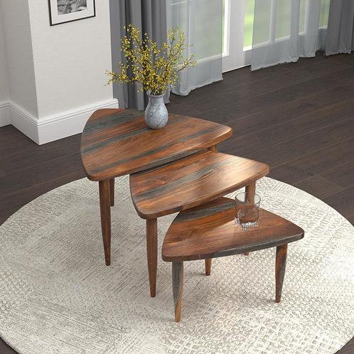 3PCS NESTING TABLE SET IN SHEESHAM WOOD