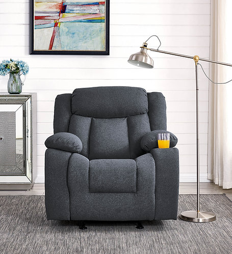 """""""JONES"""" GLIDER RECLINER CHAIR IN GREY OR BROWN FABRIC"""