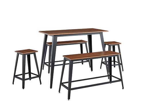 """CREEK"" 5-PCS  BAR DINING SET IN WALNUT FINISH"