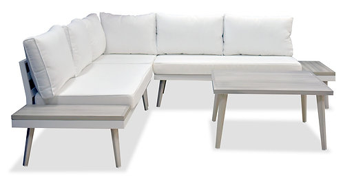 """""""IVORY"""" OUTDOOR SECTIONAL IN WHITE AND GREY"""