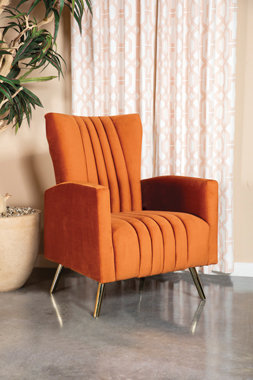 """""""AARON"""" CHANNELED TUFTED ACCENT CHAIR IN BURNT ORANGE"""