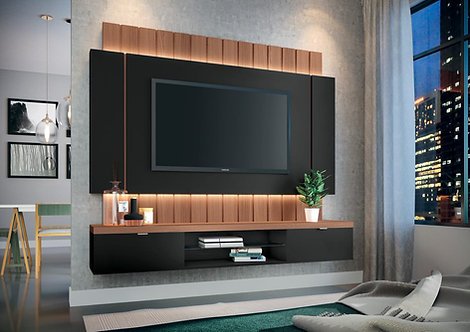 """""""ILLUSION"""" FLOATING TV RACK IN BLACK AND NATURAL"""