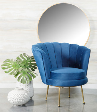 """""""MARINA"""" CHANNELED ACCENT CHAIR IN BLUE AND GOLD"""