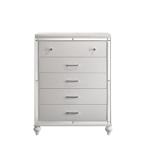 """""""VALENTINO"""" 5-DRAWER CHEST IN SILVER OR WHITE"""