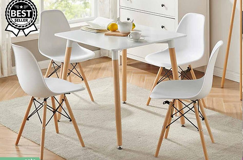 """""""CYNDI"""" 5-PCS  DINING SET IN WHITE AND NATURAL"""