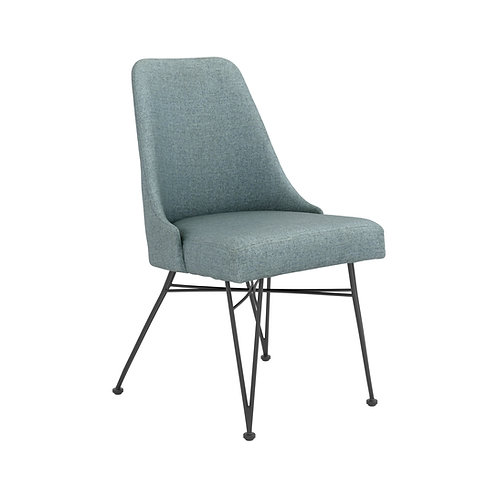 """""""SHERMAN"""" UPHOLSTERED SIDE CHAIR IN BLUE FABRIC (SET OF 2)"""