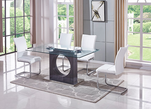 """""""MARCEL"""" 5-PCS DINING SET IN GLASS TOP AND GREY"""