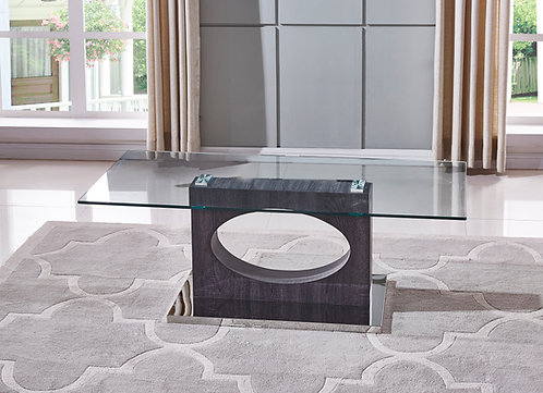 """""""MARCEL"""" RECTANGULAR COFFEE TABLE IN GLASS TOP AND WOOD FINISH"""