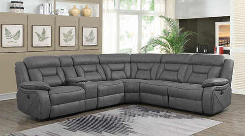"""""""CAMARGUE"""" 4-PCS POWER SECTIONAL RECLINER IN GREY"""