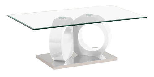 """""""VERITY"""" COFFEE TABLE WITH GLASS TOP AND WHITE FINISH"""