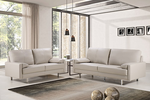 """""""LUCIANO"""" 2-PCS LIVING ROOM SET IN LIGHT TAUPE OR WHITE LEATHER"""