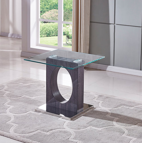 """""""MARCEL"""" SQUARE END TABLE IN GLASS TOP AND WOOD FINISH"""