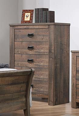 """""""FREDERICK"""" 5-DRAWER CHEST IN WEATHERED OAK FINISH"""