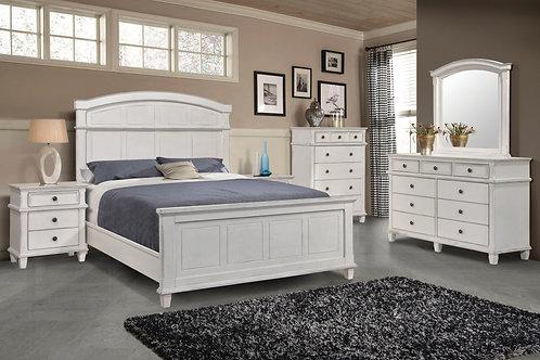 """CAROLINA"" PANEL 4-PCS QUEEN BEDROOM SET IN ANTIQUE WHITE"