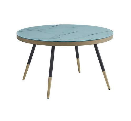 """""""ARIA"""" ROUND COFFEE TABLE IN WHITE MARBLE LOOK"""