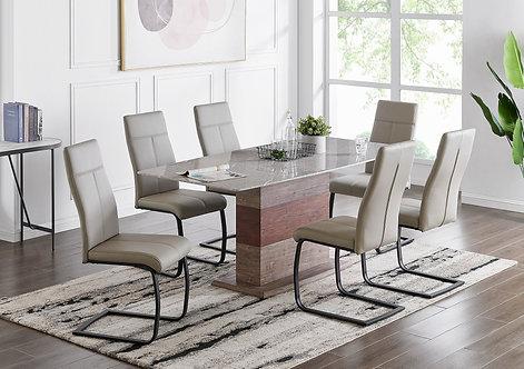 """""""ARNETTE"""" 7-PCS DINING SET IN (GREY,WHITE,TAUPE) VINYL"""