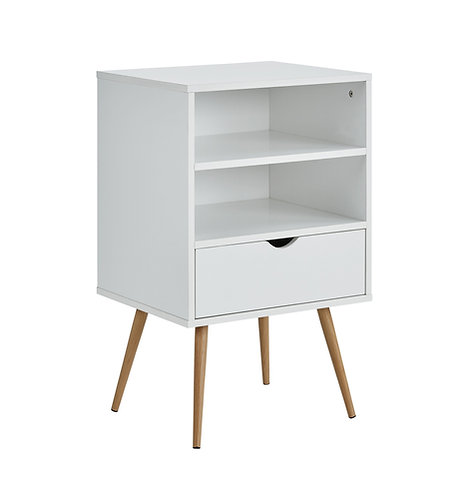 """""""ZION"""" 1-DRAWER ACCENT SIDE TABLE IN WHITE FINISH"""
