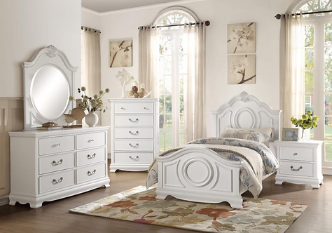 """""""LUCIDA"""" 4-PCS BEDROOM SET TWIN OR FULL IN WHITE"""