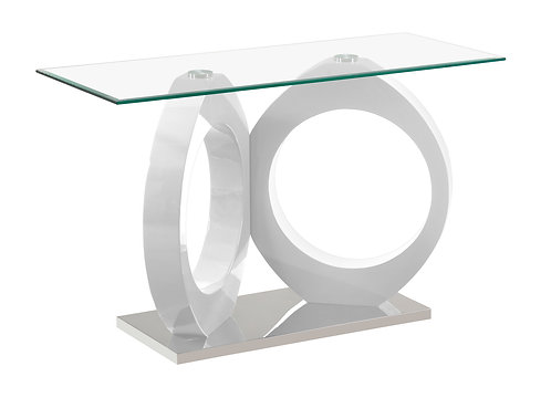 """""""VERITY"""" CONSOLE TABLE WITH GLASS TOP AND WHITE FINISH"""