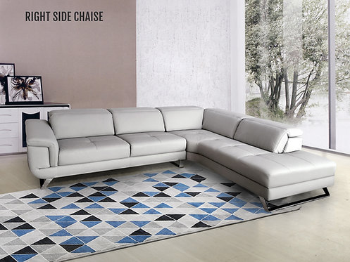 """""""FAITH"""" 2-PCS LEATHER SECTIONAL IN GREY AND STEEL LEGS"""