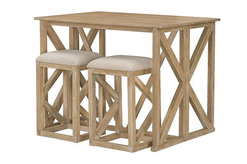 """""""LANGSTON"""" FOLDING BAR WITH BARSTOOLS IN NATURAL FINISH"""