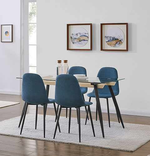 """""""JENNA"""" 5-PCS DINING SET OF GLASS TABLE AND GREY OR BLUE FABRIC"""