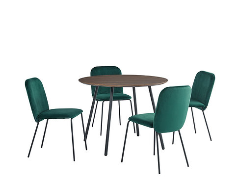 """""""GIANNA"""" 5-PCS DINING SET OF ROUND TABLE AND GREEN VELVET"""