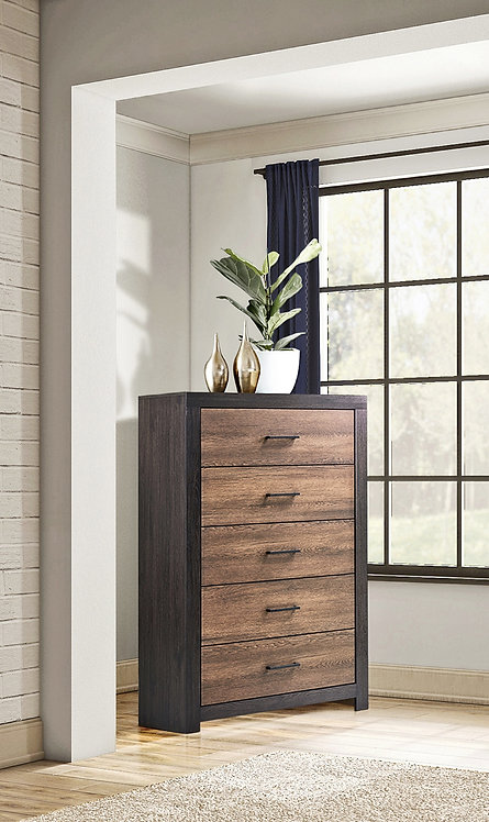 """""""DEWCREST""""  5-DRAWER CHEST IN CARAMEL AND LICORICE"""