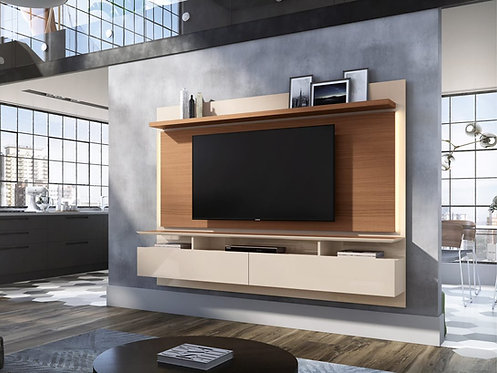 """""""LIMIT"""" FLOATING TV RACK IN OFF WHITE AND NATURAL FINISH"""