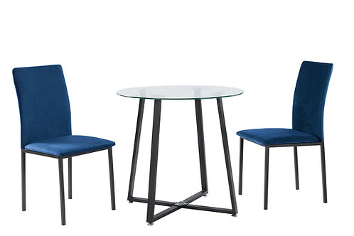 """""""JULIA"""" 3-PCS DINETTE SET IN GLASS AND GREY OR BLUE FABRIC"""