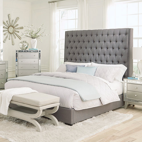 """""""CAMILLE"""" QUEEN OR KING BUTTON TUFTED BED IN GREY"""