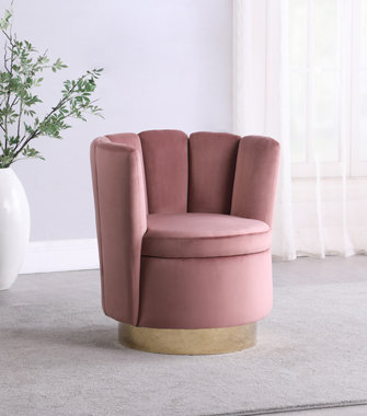 """""""ARIEL"""" CHANNELED SWIVEL CHAIR IN ROSE OR TEAL AND GOLD"""