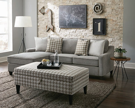 """""""MCLOUGHLIN"""" REVERSIBLE SECTIONAL IN CHARCOAL FABRIC"""
