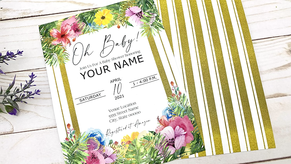 Tropical Baby Shower Invitations, Tropical Baby Shower