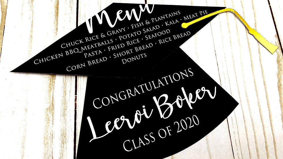 Black and White Graduation Hat Menu Cards