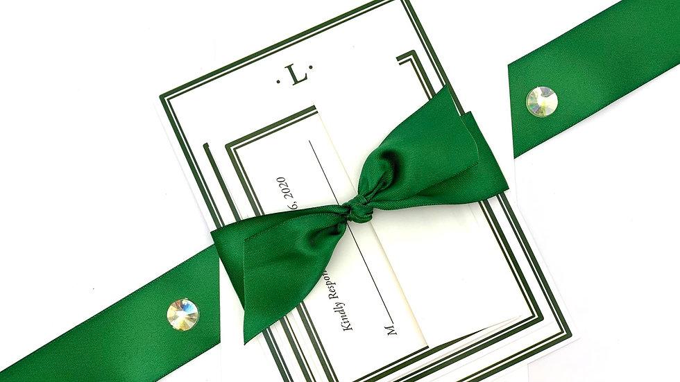 Monogram Double Lined Wedding Invitation Suites