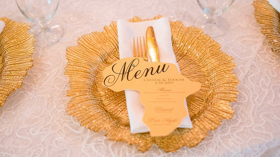Africa Shaped Menu Cards
