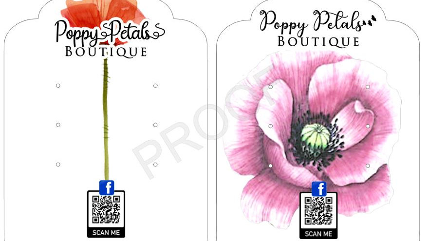 Earring Cards for Poppy Petals Boutique
