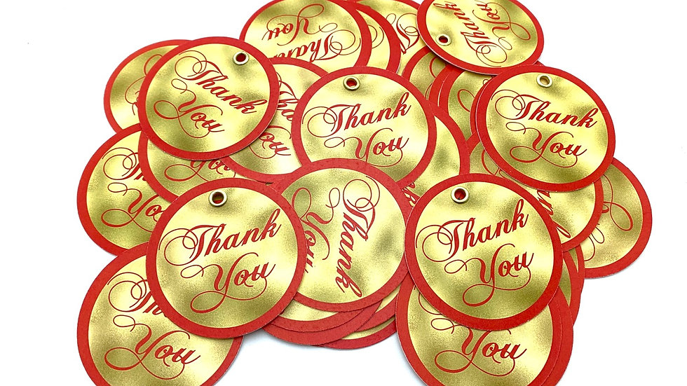 Gold and Red Thank You Tags, Circle Tags