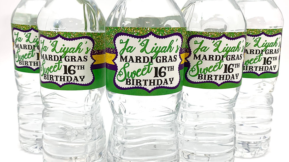 Mardi Gras Themed Water Bottle Labels - 24 Labels per order