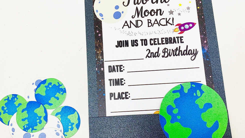 Two the Moon and Back Pocket Style Fill-In Invitations PLUS Confetti